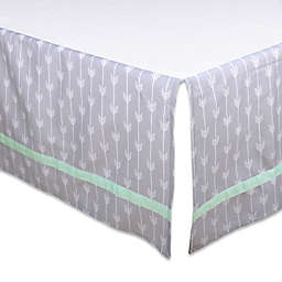 The Peanutshell™ Arrow Crib Skirt in Grey/Mint