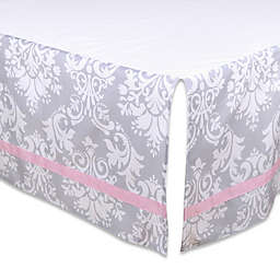 The Peanutshell™  Damask Crib Skirt in Pink/Grey