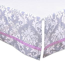 The Peanut Shell™ Damask Crib Skirt in Purple/Grey