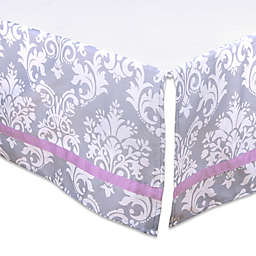 The Peanut Shell™ Damask Crib Skirt in Purple/Grey
