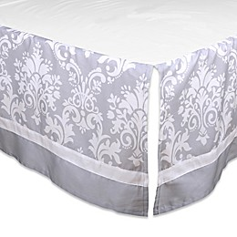 The Peanutshell ™ Damask Crib Skirt in Grey
