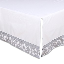 The Peanut Shell® Geometric Crib Skirt in White/Grey