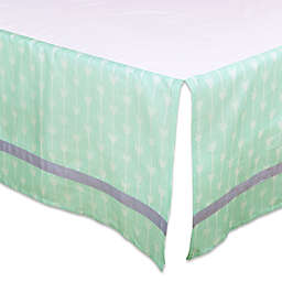 The Peanut Shell™ Arrow Crib Skirt in Mint/Grey
