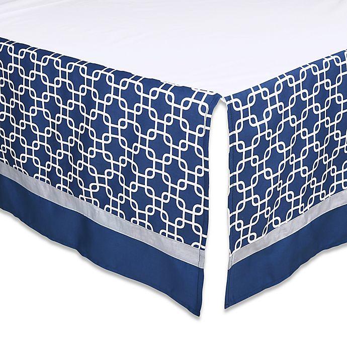 Alternate image 1 for The Peanutshell™  Geometric Crib Skirt in Navy/Grey