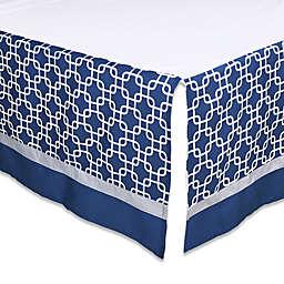 The Peanutshell™  Geometric Crib Skirt in Navy/Grey