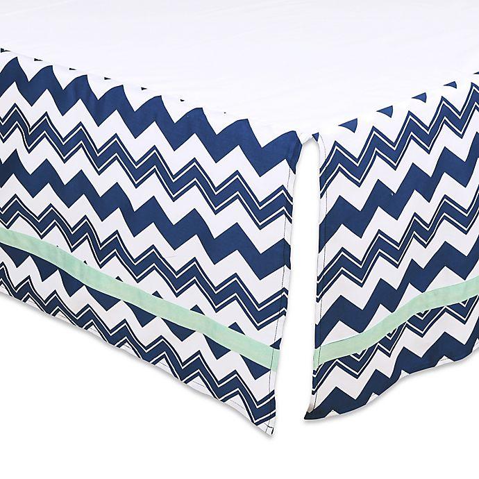 Alternate image 1 for The Peanut Shell® Chevron Crib Skirt in Navy/Mint