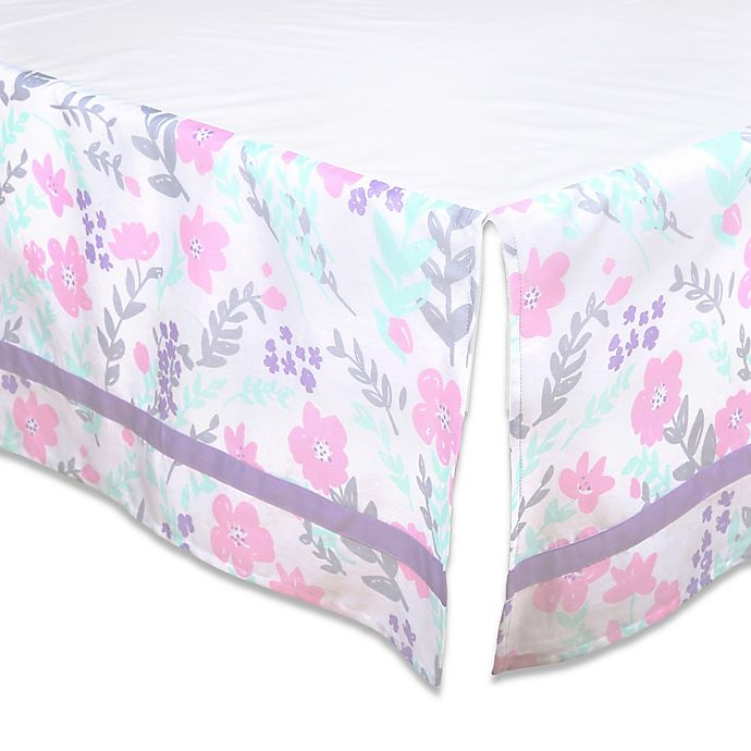 Alternate image 1 for The Peanutshell™ Floral Crib Skirt in Pink