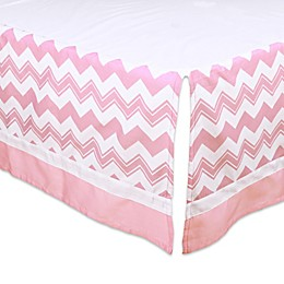 The Peanutshell™  Chevron Crib Skirt in Pink