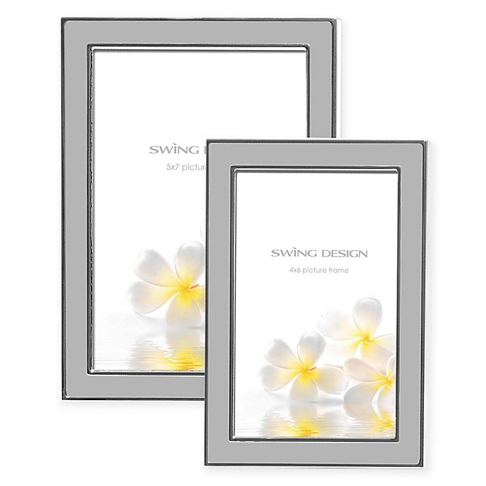 Alternate image 1 for Swing Design Lura Silver Plate Picture Frame in Grey