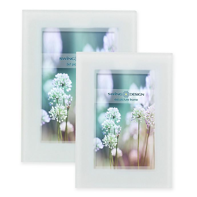 Swing Design® Frosted Glass Picture Frame in White | Bed Bath & Beyond