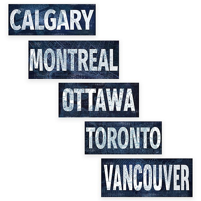 Alternate image 1 for Canadian Cities Blueprint Canvas Wall Art Collection