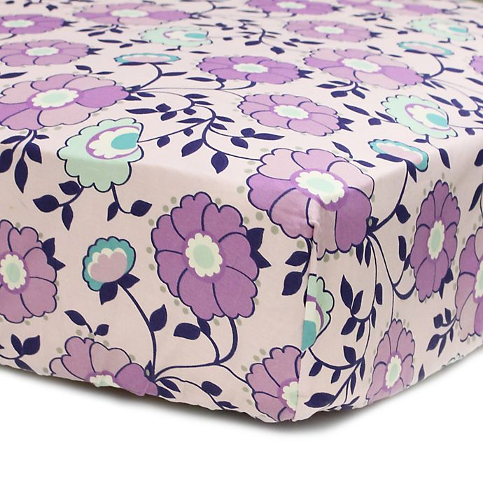 Alternate image 1 for The PeanutShell™  Zoe Floral Fitted Crib Sheet in Purple
