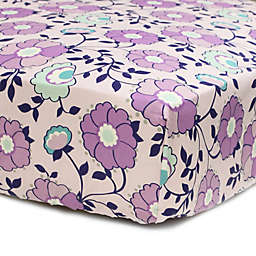 The PeanutShell™  Zoe Floral Fitted Crib Sheet in Purple