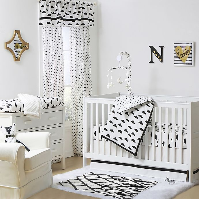 The Peanutshell Clouds Crib Bedding Collection Black