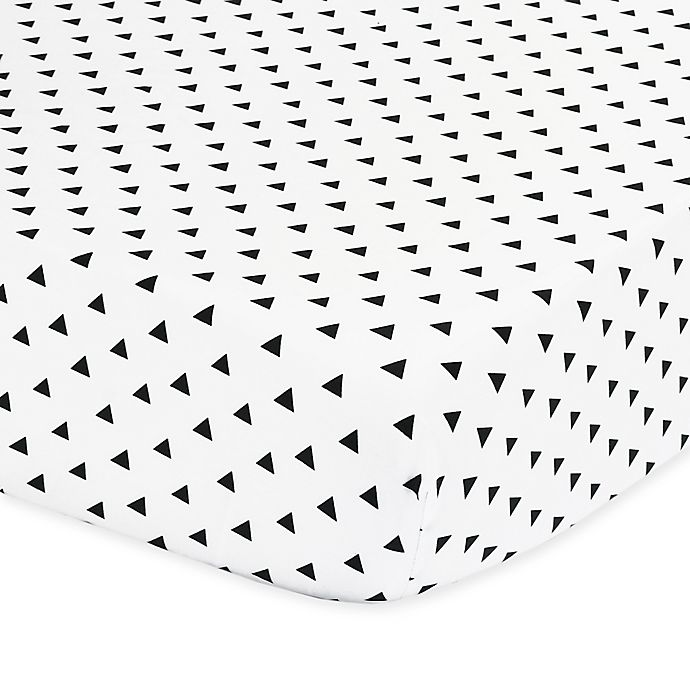 Alternate image 1 for The Peanutshell™  Triangle Fitted Crib Sheet in Black/White