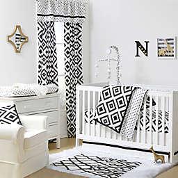 The Peanutshell™  Triangles Crib Bedding Collection Black/White