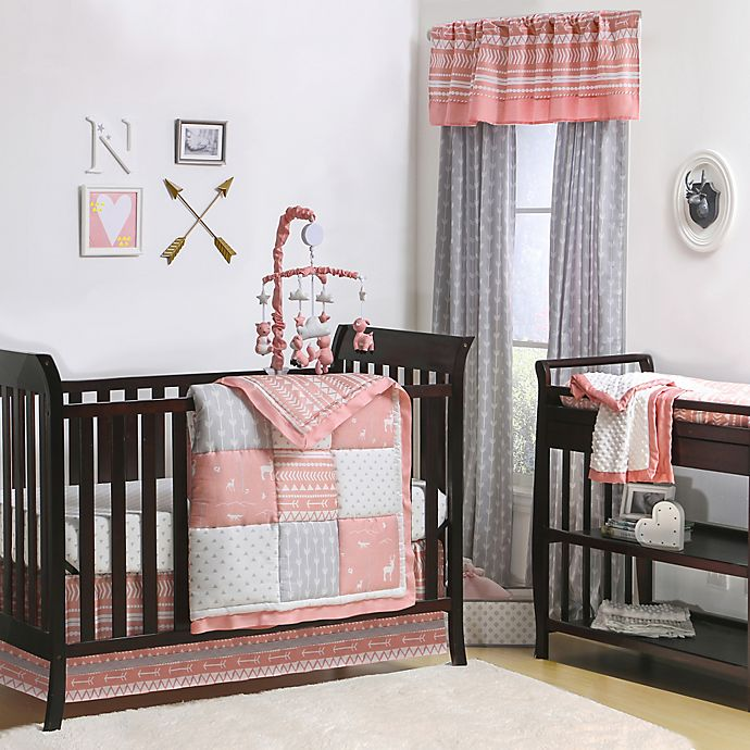 Alternate image 1 for The Peanutshell™  Woodland 4-Piece Crib Bedding Set in Coral/Grey