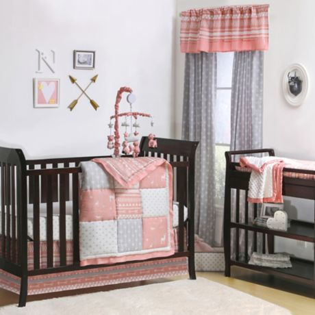 The Peanutshell Crib Bedding Collection In Coral Grey