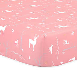 The Peanutshell™  Woodland Fitted Crib Sheet in Coral