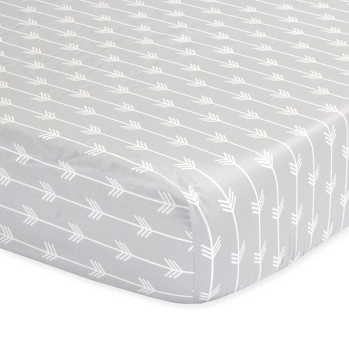 Alternate image 1 for The Peanutshell™  Arrows Fitted Crib Sheet in Grey