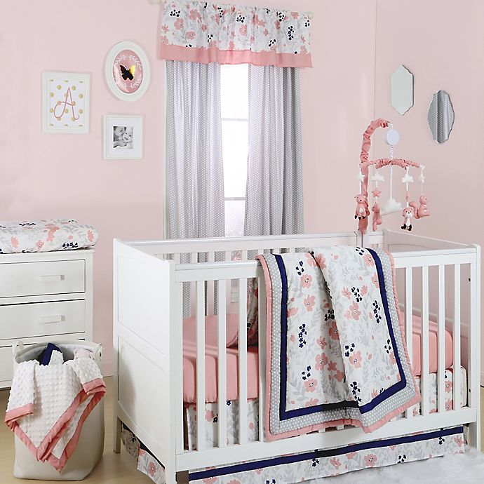 Alternate image 1 for The Peanutshell™  Floral 4-Piece Crib Bedding Set in Coral