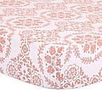 The Peanut Shell® Medallions Fitted Crib Sheet in Coral