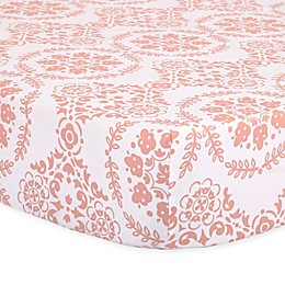 The Peanut Shell™ Medallions Fitted Crib Sheet in Coral