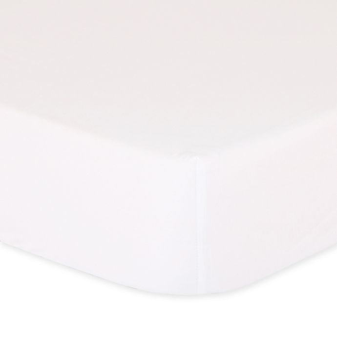 Alternate image 1 for The Peanut Shell™ Solid Fitted Crib Sheet in White