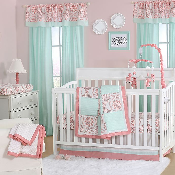 Alternate image 1 for The Peanutshell™  Medallion 4-Piece Crib Set in Coral/Mint