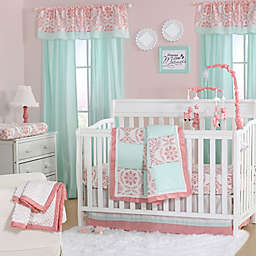 The Peanutshell™  Medallion Crib Bedding Collection in Coral/Mint