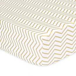 The Peanut Shell™ Chevron Fitted Crib Sheet in Gold