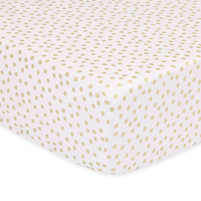 Alternate image 1 for The Peanutshell™  Confetti Fitted Crib Sheet in Gold
