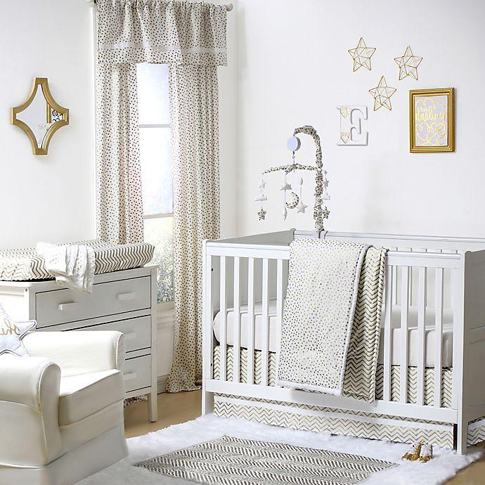 Alternate image 1 for The Peanutshell™  Confetti Chevron Crib Bedding Collection in Gold/White