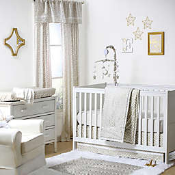 The Peanutshell™  Confetti Chevron 4-Piece Crib Bedding Set in White/Gold