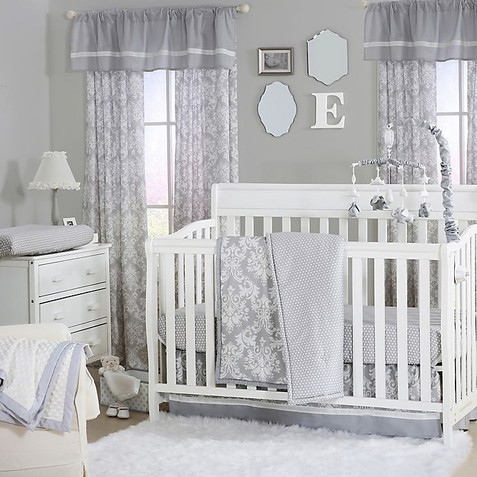 Alternate image 1 for The Peanutshell™  Damask 4-Piece Crib Set in Grey