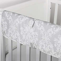 The Peanut Shell™ Damask Crib Rail Guard in Grey