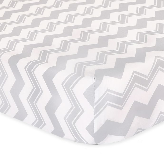 Alternate image 1 for The Peanut Shell™ Chevron Fitted Crib Sheet in Grey