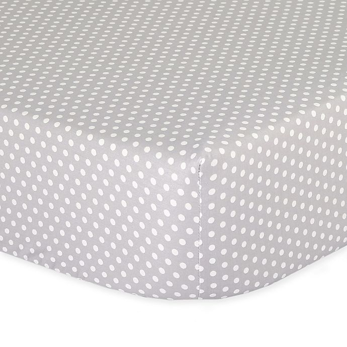 Alternate image 1 for The Peanut Shell™ Dots Fitted Crib Sheet in Grey