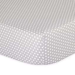 The Peanut Shell™ Dots Fitted Crib Sheet in Grey