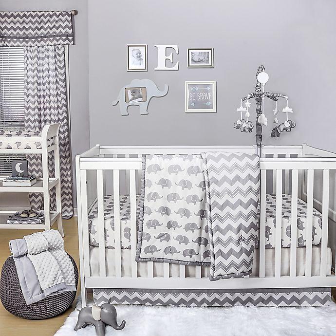 The Peanutshell™ Elephant 4 Piece Crib Bedding Set in White/Grey