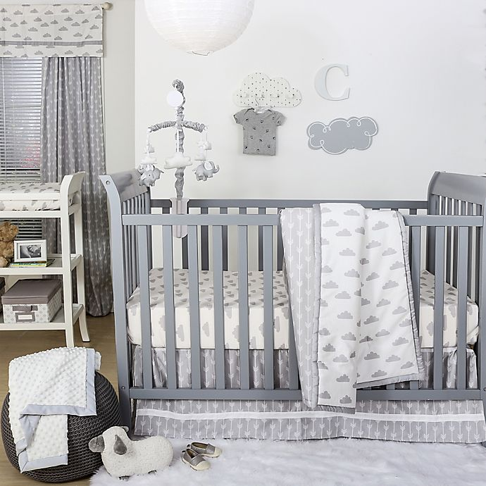 Alternate image 1 for The Peanutshell™  Clouds 4-Piece Crib Bedding Set in Grey