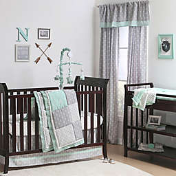 The Peanut Shell Reg Woodland Crib Bedding Collection In Grey Mint
