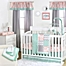 Part of the The Peanutshell™  Mini-Dots Patchwork Crib Bedding Collection in Coral/Mint