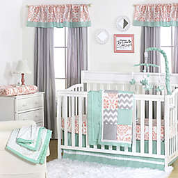 The Peanutshell™  Mini-Dots Patchwork Crib Bedding Collection in Coral/Mint