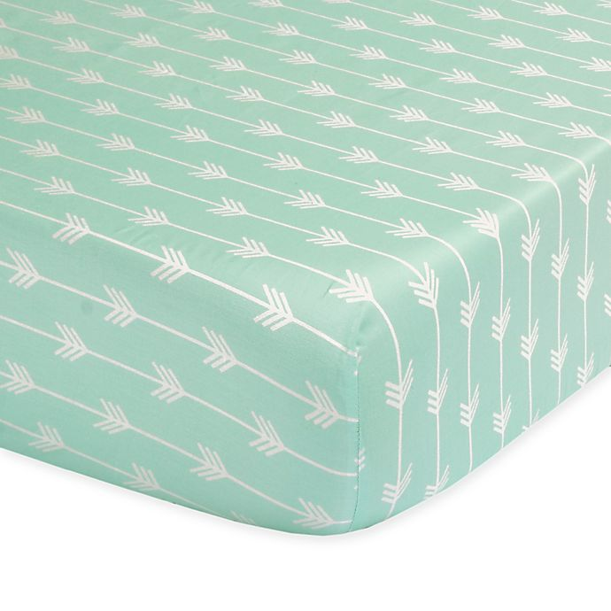 Alternate image 1 for The Peanutshell™  Arrow Fitted Crib Sheet in Mint
