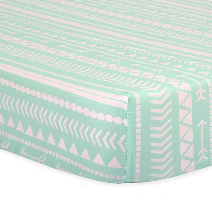 Alternate image 1 for The Peanut Shell™ Tribal Fitted Crib Sheet in Mint
