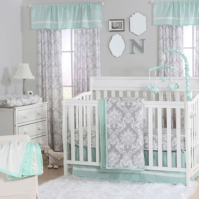 Alternate image 1 for The Peanutshell™  Damask 4-Piece Crib Set in Mint/Grey