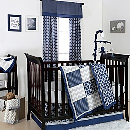 The Peanutshell™  Geometry Patch 4-Piece Crib Bedding Set in Navy/Grey