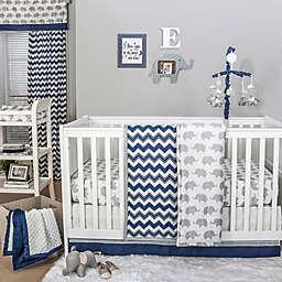 The Peanutshell™  Chevron Crib Bedding Collection in Navy/Grey