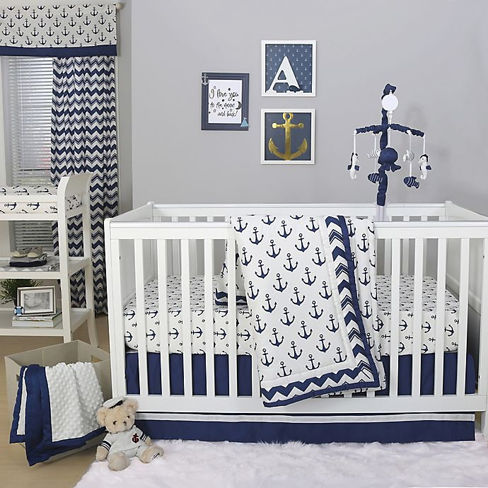 Alternate image 1 for The Peanutshell™  Anchor 4-Piece Crib Bedding Set in White/Navy